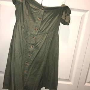 Off the Shoulder Buttondown Army green dress